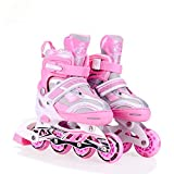 Hoteon Inline Skates size adjustable all pure PU wheels it has aluminum-alloy which is strong with LED flash light on wheels ( Blue , Red , Pink )