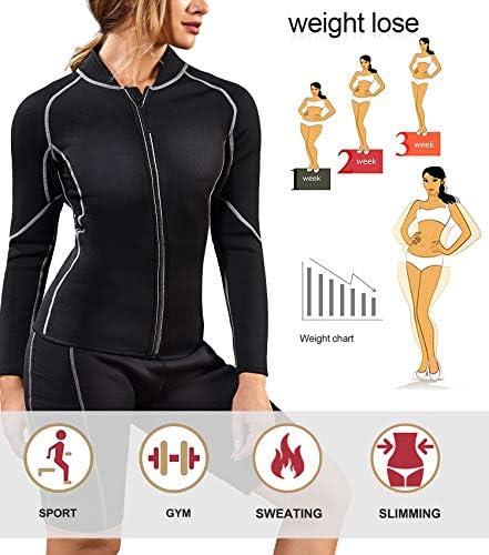 Nebility Women Waist Trainer Jacket Hot Sweat Shirt Weight Loss Sauna Suit Workout Body Shaper Neoprene Top Long Sleeve 4