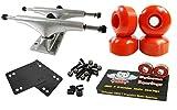 Owlsome 5.25 Polished Aluminum Skateboard Trucks w/52mm Wheels Combo Set (Red)