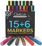 Chalk Markers & Metallic Colors - Pack of 21 neon chalk pens - For Chalkboard, Whiteboard, Blackboard, Window, Labels, Bistro, Glass - Wet Wipe Erasable - 6mm Reversible bullet & chisel Tip