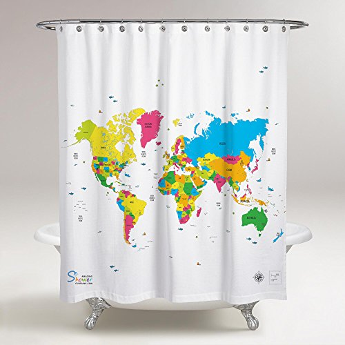Amazing Shower Curtains 2017 Best Quality World Map Shower Curtain