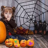 4.6ft Halloween Spider Web Decoration with Glitter Threads, Giant Cobweb Spiderweb Party Supplies Décor, Black Spider Webbing for Halloween Indoors Haunted House Outdoors Yard Decoration