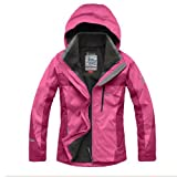 Greatdeal Women's Outdoor Sportswear Winter Jacket Waterproof Two-piece Dress Rose Red-s