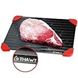 Thawt Defrosting Tray with Silicone Rapid Thaw Frozen Food Fast No Electricity, Battery, Microwave, Heating Pads, or Chemicals Safest Quickest Natural Eco Friendly to Defrost Meat, Chicken, Vegetables