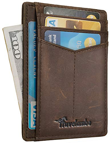 Travelambo RFID Front Pocket Minimalist Slim Wallet Genuine Leather Small Size (hunter CH coffee)