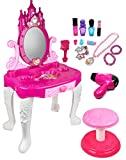 Kiddie Play Pretend Play Kids Vanity Table and Chair Beauty Play Set with Fashion & Makeup Accessories for Girls
