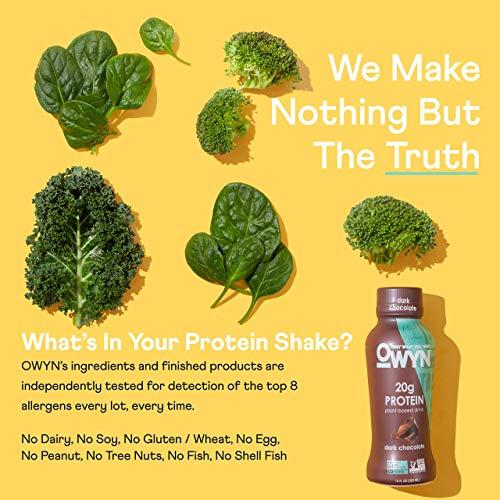 OWYN - 100% Vegan Plant-Based Protein Shakes | Dark Chocolate, 12 Fl Oz (Pack of 12) | Dairy-Free, Gluten-Free, Soy-Free, Tree Nut-Free, Egg-Free, Allergy-Free, Vegetarian 5