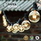 Guddl Globe String Lights with 27 Clear G40 Bulbs, Connectable Outdoor /Indoor Lights for Wedding Christmas Camping RV Garden Patio Gazebo Porch Pergola Bistro Backyard Balcony Deck, 25ft Black Wire