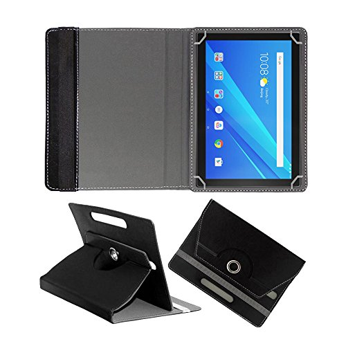 Fastway Rotating Leather Flip Case for Lenovo Tab 4 10 16 GB 10.1 inch with Wi-Fi+4G Tablet Cover Stand (Black) 197