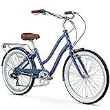 sixthreezero EVRYjourney Women's 7-Speed Step-Through Hybrid Cruiser Bicycle, Navy w/Brown Seat/Grips, 26' Wheels/ 17.5' Frame