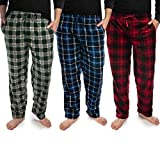 DG Hill (3 Pairs) Mens PJ Pajama Pants Bottoms Fleece Lounge Sleepwear Plaid PJs with Pockets Pants (Red, Blue & Green), Multicolor, Large: 33-35' waist