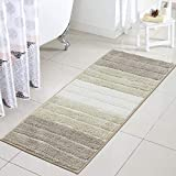 Uphome Bath Rug Runner Luxury Light Brown Striped Shaggy Bath Mat 18x47 inch Non-Slip Water Absorbent Long Kitchen Rugs Machine-Washable Floor Carpet for Toilet Mudroom