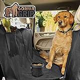 Gorilla Grip Original Premium Slip-Resistant Pet Car Seat Protector for Pets, Free Dog Bowl, Durable Protectors for Cars, SUV, Underside Grip, Waterproof, Seat Belt Openings, Pocket, Hammock: Black