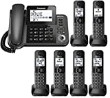 Panasonic KX-TGF383M plus three KX-TGFA30M handsets DECT 6.0 Plus Corded / Cordless 6-Handset Landline Telephone System (KX-TGF383M+3, KX-TGF382M+4, KX-TGF380M+5) (Renewed)