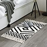 Moroccan Cotton Area Rug 2' x 3', KIMODE Washable Hand Woven Print Tassel Chic Diamond Throw Rugs Welcome Door Mat with Non-Slip Pads for Bathroom,Bedroom,Living Room,Laundry Room