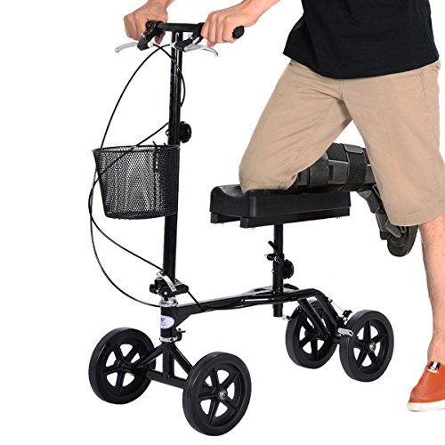 Giantex Steerable Foldable Knee Walker Roller Scooter Turning Brake Basket Drive Cart, Black (with Steel Basket)