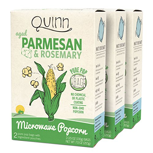 Quinn Snacks Microwave Popcorn - Made with Organic Non-GMO Corn - Great Snack Food for Movie Night - Parmesan & Rosemary, 7 Ounce (3 Count)