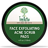 TreeActiv Face Exfoliating Acne Scrub Pads | Best Natural Blackhead Clearing Treatment | Safely Extracts and Removes Blackheads | Prevents Future Breakouts | Men Women Teens (4 oz)