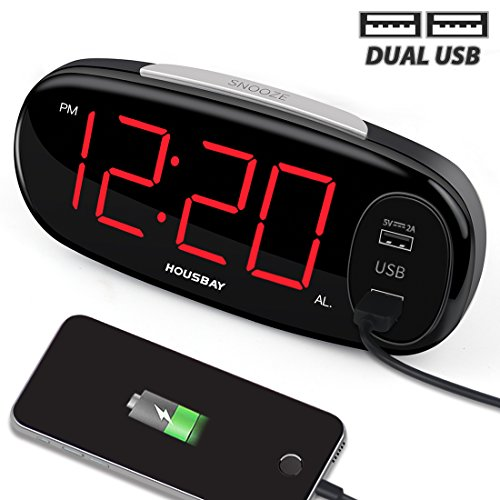 Housbay Digital Alarm Clock with Dual USB Charger, No Frills Simple Settings, Easy Snooze, 6.5' Big LED Alarm Clocks for Bedrooms with Dimmer, Outlets Powered