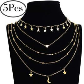 Outee 5 Pcs Layered Necklace Chokers Simple Layered Clavicle Necklace Multilayer Gold Tone Tiered Chokers Necklaces for Women Girls Bead Heart Star Moon Pendant Chain Necklaces