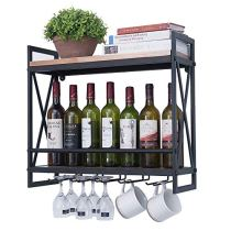Rustic Farm-House Look Metal Wine Rack Shelf with Glass Holders