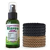 Kinven Anti Mosquito Repellent Bundle - Mosquito Repellent Bracelet & Insect Spray, Waterproof, Natural, DEET-Free, Indoor & Outdoor Protection (2oz Spray Bottle + 8 Bracelets, Brown/Black)
