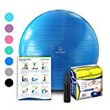 Exercise Ball - Professional Grade Anti-Burst Fitness, Balance Ball for Pilates, Yoga, Birthing, Stability Gym Workout Training and Physical Therapy (Blue, 75cm)
