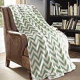JML Throw Blanket - Made of Microfiber in 50'x60' - Portable, Compact and Multi-Purpose - Chevron Green