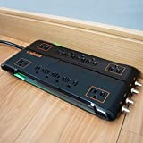 Echogear 12 Outlet Power Strip Surge Protector with 3420J of The Best Surge Suppression - Includes Sliding Safety Covers, 2 Pairs of Coax Connectors, Hanging Slots for Wall Mounting
