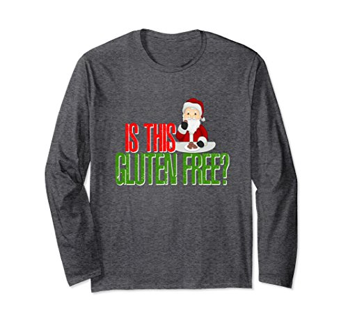 Unisex Is This Gluten Free Christmas Cookies Santa Shirt Long 2XL Dark Heather
