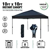 kdgarden 10 x 10 Ft. Outdoor Pop Up Waterproof Canoy with 300D Top, Portable Silver Coated UV Canopy Tent for Outdoor Use, Easy Up Tent with Roller Bag, Black