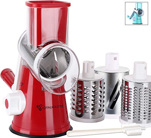 LOYALMASTER Rotary Grater Cheese Shredder - Speed Round Drum Vegetable Slicer Cutter - Hand Crank Mandoline for Food, Walnuts, Potato, Salad, Nut Grinder -3 Stainless Steel Drums - Strong Suction Base