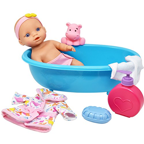 Baby Doll Bathtub Set Featuring 10 Inch All Vinyl Doll, Blue Bath Tub, Washcloth, Toy Soap Bottle and Shower Gel, and Rubber Hippo, The Best Doll Bath Toy Set for Kids
