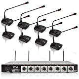 8 Channel Wireless Microphone System - Portable VHF Cordless Audio Mic Set with 1/4' and XLR Output, Dual Antenna, Includes 8 Table Top Mics, Rack Mountable Receiver Base - Pyle Pro PDWM8300