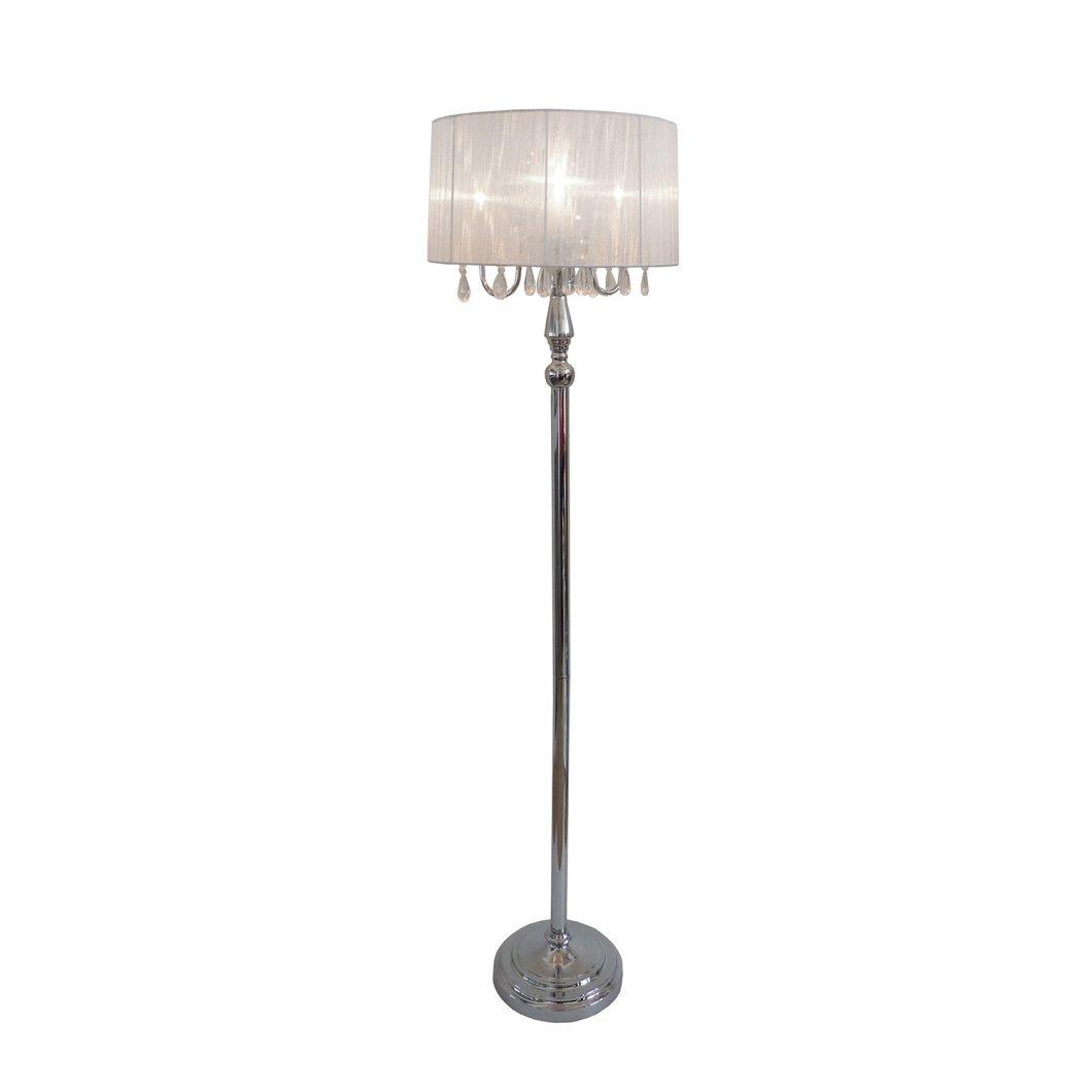 Elegant Designs LF1002-WHT Sheer Shade Chrome Floor Lamp