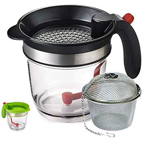 JGS Gravy Fat Separator with Bottom Release 4-Cup - Gravy Separator -Fat Separator measuring cup - Grease Separator - Oil Separator - Fat Separator with Strainer, Gravy and Fat Seperator