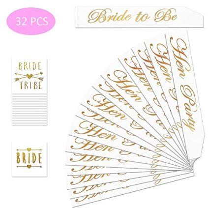 32-Pcs-EVJF-Accessoire-pour-Enterrement-de-Vie-de-Jeune-Fille-Echarpe-Bride-to-Be-Echarpe-Hen-Party-Tatouage-Bride-Tatouage-Bride-Tribe