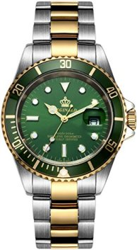 Mens Luxury Watches Ceramic Bezel Sapphire Glass Luminous Quartz Silver Gold Two Tone Stainless Steel Watch (Gold Green)
