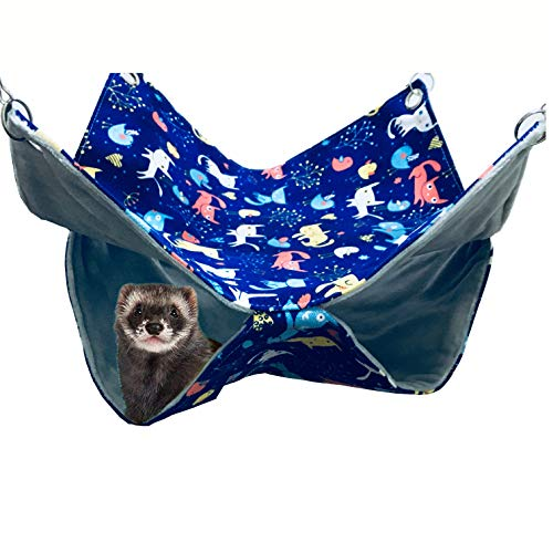 FULUE Small Animal Ferret Rat Guinea Piget Hamster Chincilla Sleeper Hammock Accessories (Blue 13.8x13.8 inch, Double Bunkbed Hammock)