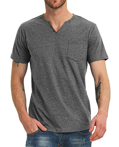 NITAGUT Men's Casual Slim Fit Short Sleeve Pocket T-Shirts Cotton V Neck Tops 1 Fashion Online Shop 🆓 Gifts for her Gifts for him womens full figure