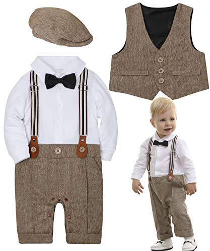 ZOEREA Baby Boy Outfits Set, 3pcs Long Sleeves Gentleman Jumpsuit & Vest Coat & Berets Hat with Bow Tie (Label 90/Age 15-20 Months, Brown)