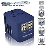 Power Plug Adapter - International Travel - w/4 USB Ports for 150+ Countries - 220 Volt Adapter - Travel Adapter Type C Type A Type G I f UK EU Europe European (4 USB Travel Adapter (1 Pack))