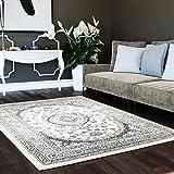 """5 x 7 Area Rug Ivory & Blue Oriental Medallion Rug for Living Room Dining Room Bedroom Transitional Vintage Distressed Design [ 5' 3"""" x 7' 3"""" ]"""