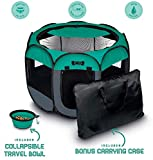 Ruff 'n Ruffus Portable Foldable Pet Playpen + Carrying Case & Collapsible Travel Bowl (Large (36' x 36' x 23'))