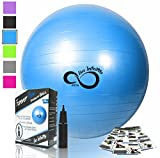 Live Infinitely Exercise Ball (55cm-95cm) Extra Thick Professional Grade Balance & Stability Ball- Anti Burst Tested Supports 2200lbs- Includes Hand Pump & Workout Guide Access Blue 55cm