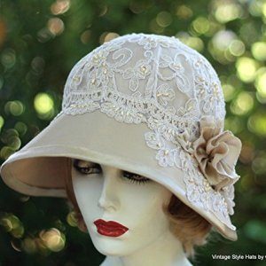 5662684004522 Womens Vintage 20s Style Fancy Formal Wide Brim Cloche Hat for Summer