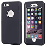 Case for iPhone 6S / iPhone 6,[Heavy Duty] Built-in Screen Protector Tough 3 in 1 Rugged Shorkproof Cover for Apple iPhone 6 / iPhone 6S (Black)