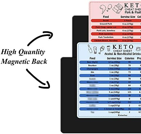 KitchenTour Keto Cheat Sheet Magnets 10 Pcs Ketogenic Diet Food Ingredients Charts of Colors Classification for a Healthy Lifestyle 4