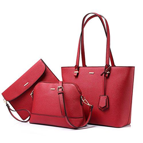 Handbags for Women Tote Bag Shoulder Bags Fashion Satchel Top Handle Structured Purse Set Designer Purses 3PCS PU Stand Gift Hot Rose Red