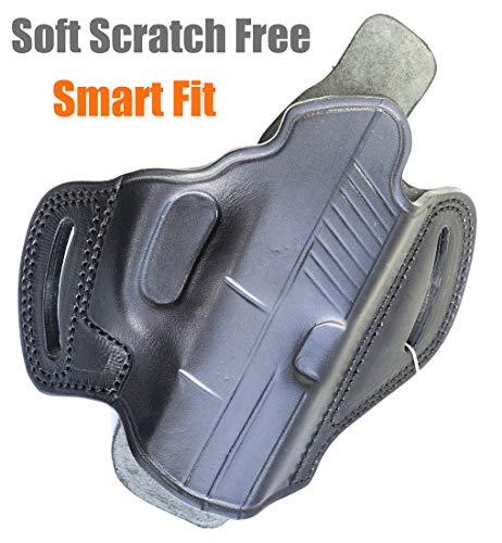 Soft Genuine Leather Butterfly Open Top OWB Gun Holster Fits Glock 19 23 26 27 / H&K VP40 / Springfield Pistols Carry Handgun Outside Waistband | Right Hand Draw | Angle Forward | Black